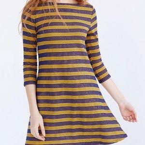 UO BDG Yellow Blue Stripe 3/4 Sleeve T-Shirt Dress